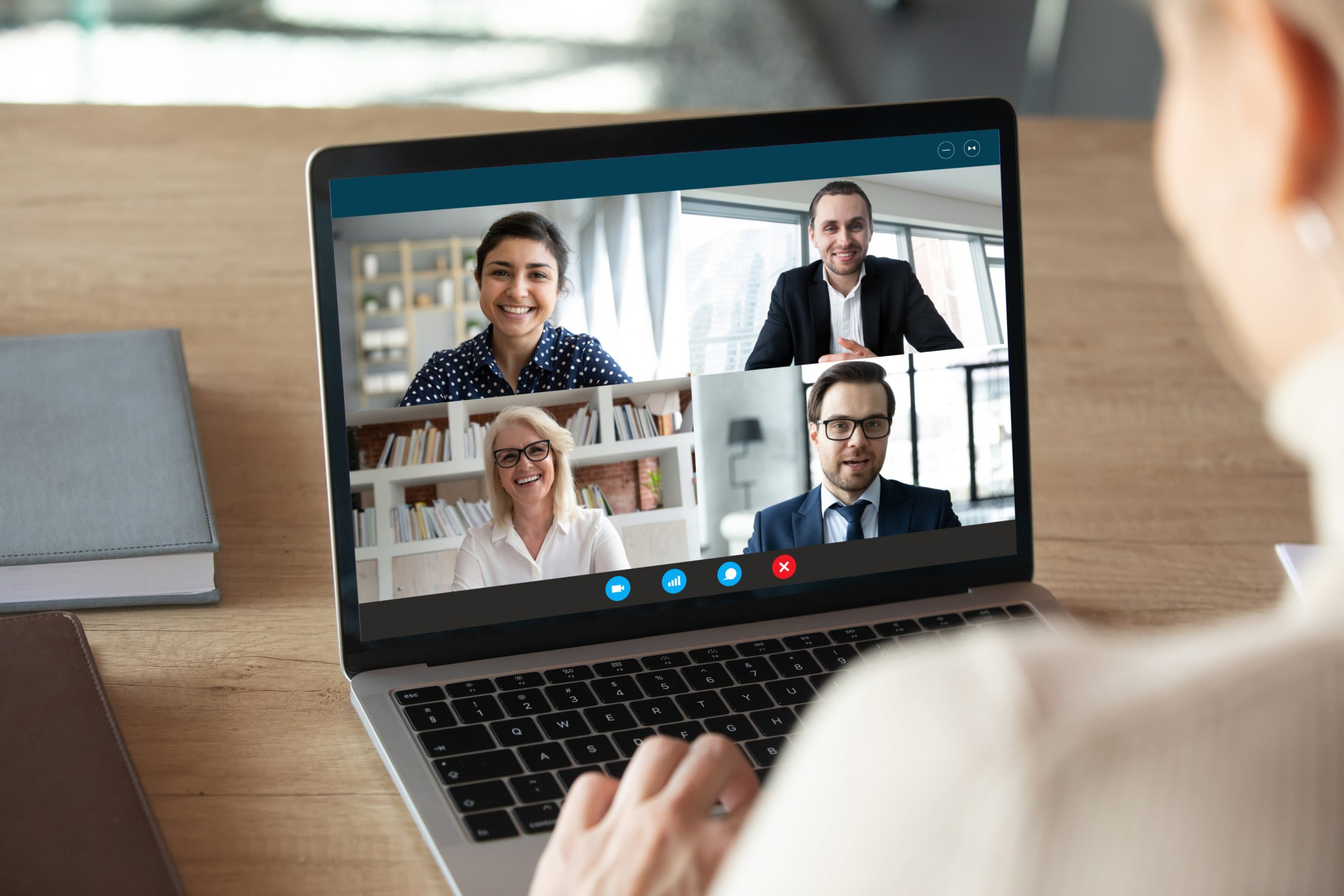 Computer screen with video conference